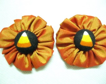 Floral Magnet in Silk/Taffeta/Fabric in ORANGE – Set of 2