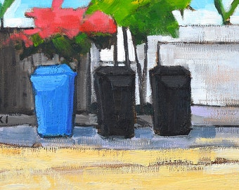 San Diego Landscape Painting- Bougainvillea & Trash Cans