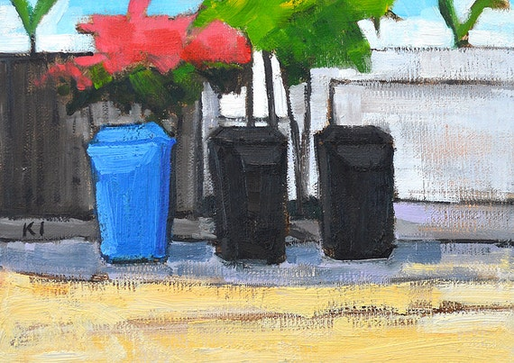 items similar to san diego landscape painting bougainvillea trash cans on etsy. Black Bedroom Furniture Sets. Home Design Ideas