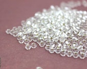 Clear Seed Beads, 1oz Clear Silver Lining 4mm Czech Glass Sead Beads, Size 6/0, 350-400pc