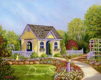 kid's playhouse, child's playhouse, children's playhouse in a garden of flowers at NC Arboretum in Wilmington, NC signed giclee art print