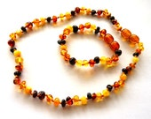 Baltic Amber Baby Teething Necklace and Anklet Multicolor Set
