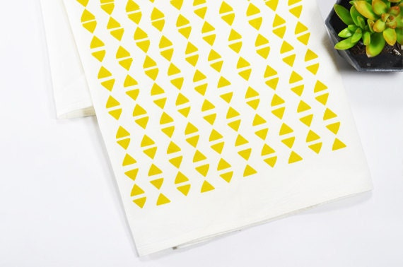 Tea Towel - Screen Printed - Mustard Triangles on White
