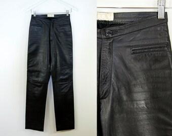 "Vintage Black LAMBSKIN Leather Pants. Straight Leg (XS; Waist 25"")"