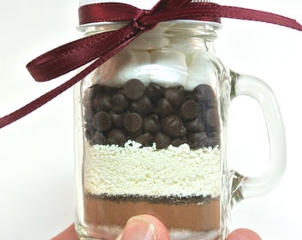 Mason Mug Mocha Hot Chocolate- 4 oz Mason Jar Hot Cocoa Mix, Mocha Layered Mix, Corporate Gift, Favor, Stocking Stuffer, Coffee Cocoa