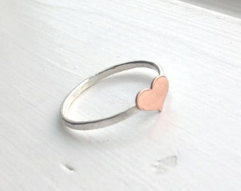 Heart Ring, Small Heart Ring, Tiny Heart Ring, Sterling Silver Heart Ring, Copper Heart Ring, Stacking Ring, Sterling Silver Stacking Rings