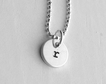 Tiny Initial Necklace, Letter r Pendant, Personalized Necklace, Letter r Necklace, Initial Pendant, Sterling Silver Jewelry, All Letters, r