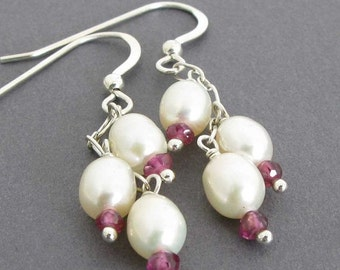 SALE Garnet and Pearl Earrings, Freshwater Pearl Earrings, Bridesmaids Earrings, Pearl and Garnet Earrings, Pink Garnets, Pearl Jewelry Gif
