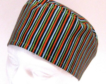 Mens Scrub Hat, Surgical Cap Or Chemo Hat Blue Green Orange and Black Stripes