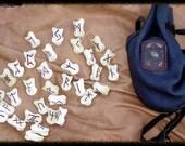 MAHOGANY stained Futhark 33 rune set  elk bone with elkskin bag  Oak and Triquetra border  High Quality  heathen pagan