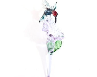 Crystal Lilac XL Hummingbird and Flower Lampwork Glass Ornament
