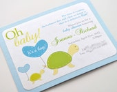 Turtle Baby Shower Invitations for boy or girl