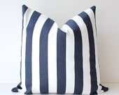 Navy Blue and White Nautical Stripe Decorative Designer Pillow Cover Accent Throw Cushion country striped cottage modern