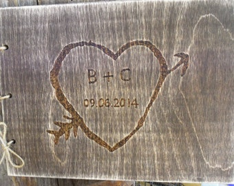Rustic Wedding Guest Book - Guest Sign-In Book with Hand-Carved Heart details
