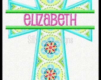 Split Cross Applique Machine Embroidery Design