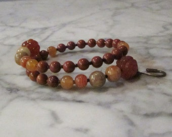 Natural Orange Stone and Crystal Sacral Hara Chakra Healing Bracelet