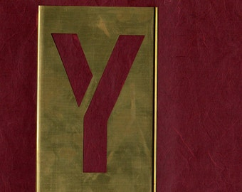 Brass Stencil Letter Y 7 inch for a 5 inch Letter