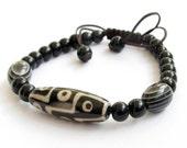Tibetan Agate 9 Eye Dzi Heaven Eye Bead Beads Bracelet Fortune Feng-Shui Jewelry  T0955