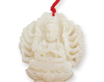 Talisman Thousand-Hands Kwan-Yin Buddha Sea Shell Tibet Buddhist Amulet Pendant 43mm x 35mm  T2909