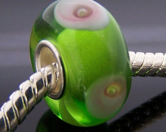 1Pc .925 Murano Glass Bead For Charm Fit European Bracelet Necklace Jewelry Finding 14mm x 7.5mm  jaz338