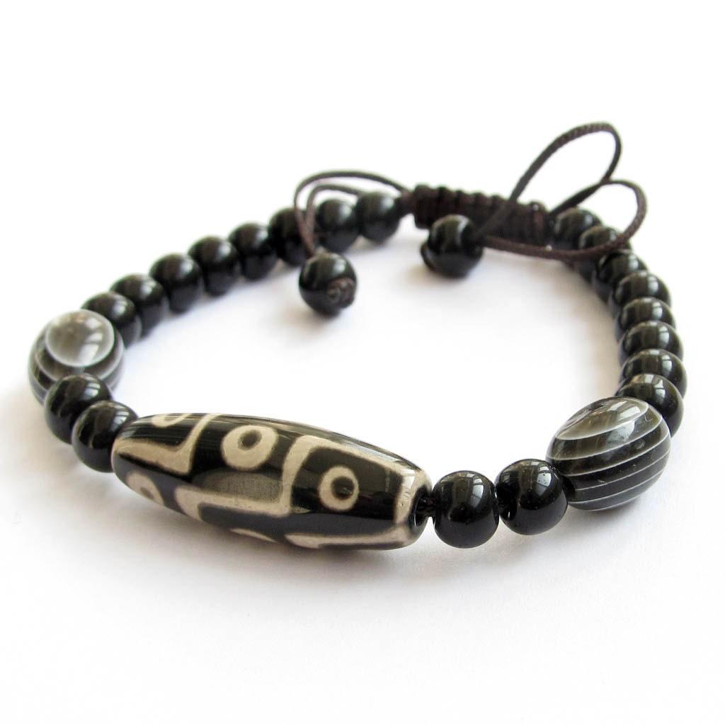 tibetan agate 9 eye dzi heaven eye bead bracelet fortune