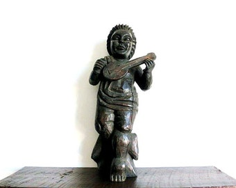 Mid Century Wooden Lute Musician Sculpture