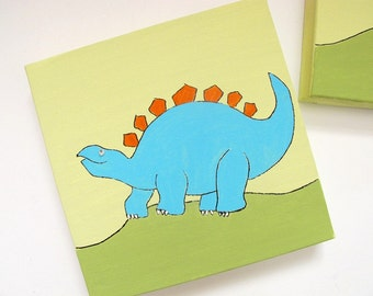 """Dinosaurs wall art  Green, blue and orange kids wall decor canvas, 3 8""""x8' canvases children decor"""