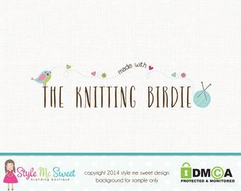 Knitting Logo Design Bird Logo Premade Small Business Logo Hand Drawn Logo Design