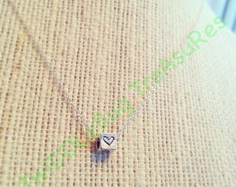 Initial Necklace - Sterling Silver - Silver Cube - Block - Sterling Silver Necklace - Hand Stamped - Mommy Necklace - Family Necklace