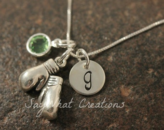 Sterling Silver Boxing Gloves Charm Necklace with Mini Hand Stamped Initial and Birthstone