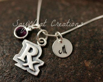 Hand Stamped Sterling Silver Pharmacist RX Charm Necklace