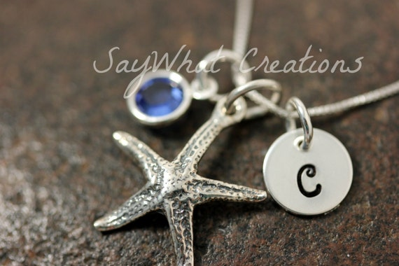 Sterling Silver Mini Initial Stamped Charm Necklace Starfish