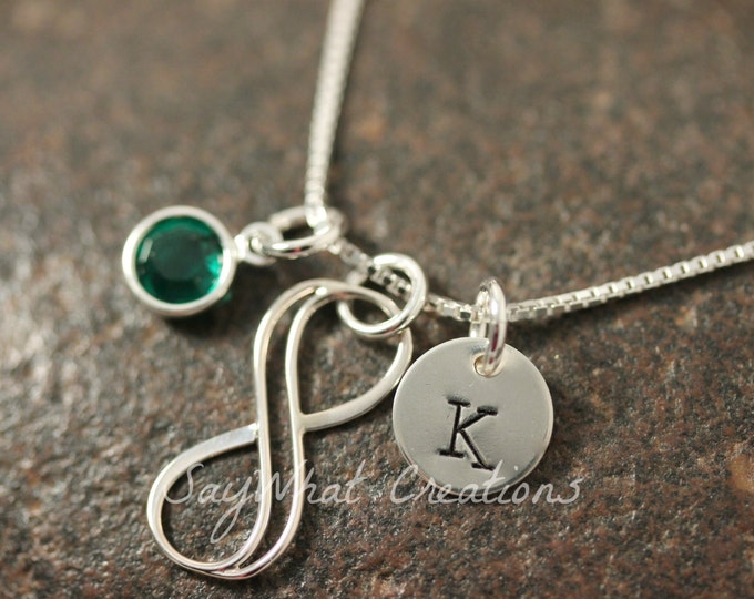 Hand Stamped Mini Initial Sterling Silver Infinity Charm Necklace