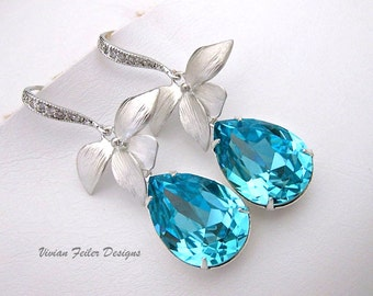 AQUA Blue Earrings Teal Wedding Jewelry Orchid Flower Bridesmaid Gift Prom Mother of the Bride