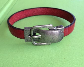 Buckle Clasp and Red Leather Bracelet