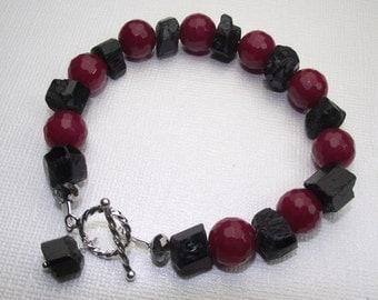 Jade and black tourmaline bracelet