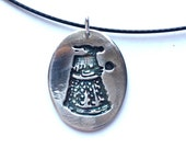 Dr Who inspired silver Dalek necklace, Silver Dalek pendant, Time Lord pendant precious metal clay silver