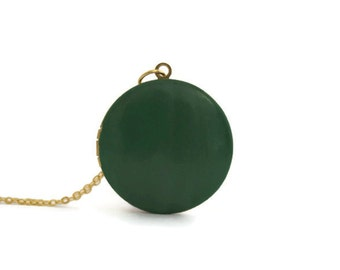 green locket - brass locket - color lockets - lockets for women - gift ideas under 30 - bohemian jewelry - christmas gift idea