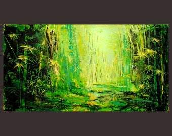 Landscape Abstract original oil painting modern Made to Order Contemporary green bamboo yellow large handmade unique forest morning by Milen