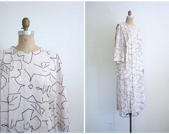 80s does 20s flapper inspired dress - Spring / New Wave - graphic print / ivory & black - silky