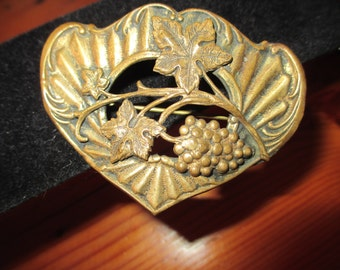 1920's VICTORIAN, Rare, Outstanding BRASS Vintage Brooch/Pin: Hand Embossed & REPOUSSE w/Leaves, Flowers, Grapes - Rare and Gorgeous!