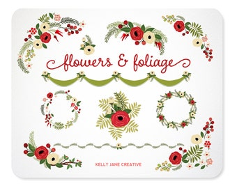 Christmas Flowers & Greenery | Wreaths and Floral Arrangements Clip Art | Holiday Botanical