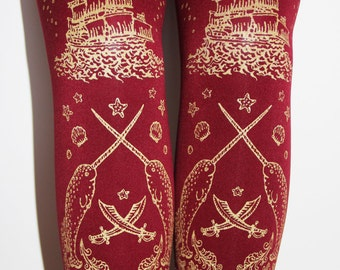S M Golden Treasure Chest Pirate Tights Small Medium Gold on Burgundy Red Berry Cranberry Oxblood Wine Claret Bordeaux Lolita