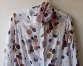 SALE Funky vintage polka dot long shirt in cotton gauze. Size small or medium.