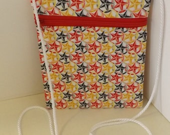 Zip Cross Body Pouch, Cell Phone Bag, Stars, Red, Yellow, Black , Walking Pouch