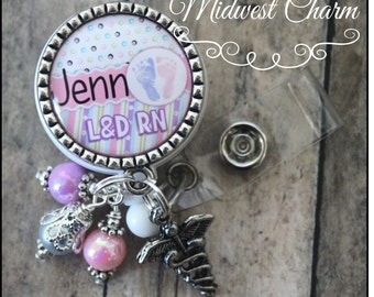 Labor and Delivery...OB..Personalized badge reel ...pinch clip...nurse,.teacher..id holder..cook..educational staff