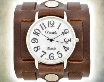 Women's Three Strap Leather Cuff Watch