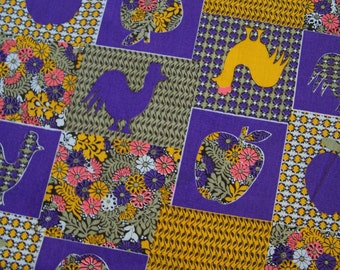 Kitsch 60s Fabric Remnant Roosters Apples Purple and Gold ~ 1 Yard Plus