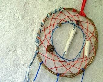 Good night fairy red and blue dream catcher with handmade white ceramic beads