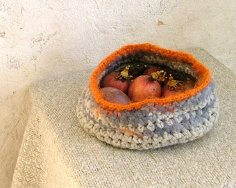 Crochet bowl - wool grey and orange small soft basket felted basket